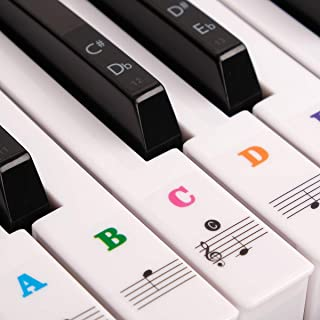 Piano Stickers for Keys, Transparent Removable Kids and Beginners Piano Keyboard Stickers Full Set Black&White Keys for 49/61 / 76/88 Keyboards (Colorful)