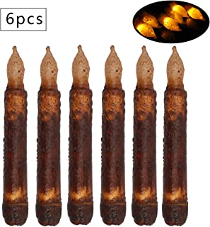 Set of 6 Primitive Candles LED Taper Candles Real Wax Pillar Brightly Realistic Yellow Battery Operated Wax Dipped Candles,Flameless Taper Candles for Halloween Christmas Party,Wedding,Home Decor