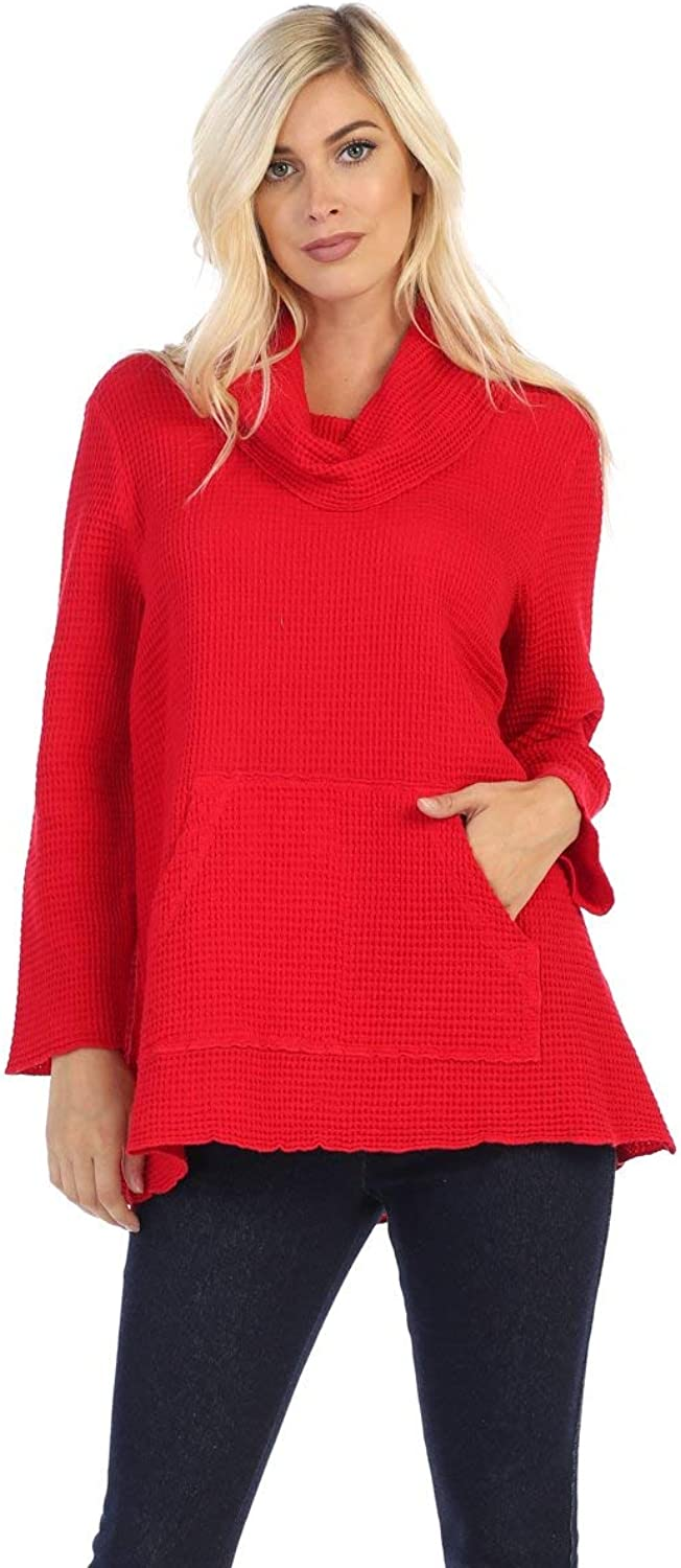 Fashion Focus Cotton Waffle Cowl Neck Tunic Top