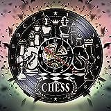 CVG Juego de ajedrez Reloj de Pared con Registro de Vinilo Tablero de ajedrez Reloj de Pared Antiguo Reloj Club de ajedrez Colgante de Pared Decoración de Arte Cartel Regalo de Amantes de ajedrez