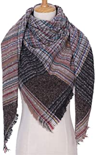 Scarf Acrylic Triangle Scarf Autumn Winter Keep Warm Shawl,Perfect Accent to Any Outfit (Color : D-17, Size : 135+135+200 cm)