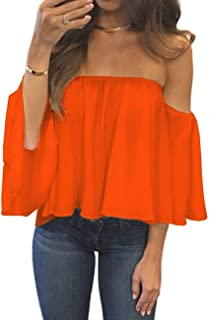 Womens Summer Short Sleeve Casual Tee Shirts Chiffon Strapless Blouses and Tops (Orange, XL)