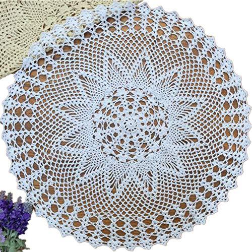 Yizunnu - Mantel Redondo Hecho a Mano de Crochet de algodón con Encaje, para Boda, Fiesta, 60 cm, algodón, Blanco, 60 cm