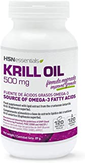 Krill Oil de HSN Essentials - Aceite de Krill 500mg - Fuente de Omega 3 (DHA, EPA), Con Astaxantina y Fosfolípidos - Potente Antioxidante - materia prima RIMFROST Krill Oil - 120 perlas