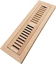 Homewell Red Oak Wood Floor Register Vent Cover, Flush Mount Vent with Damper, 2X12 Inch, Unfinished