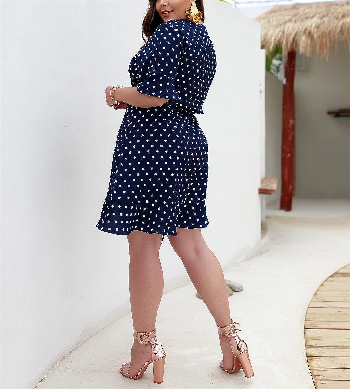 QANSI Womens Plus Size Dresses Summer Wrap V Neck Polka Dot Dress Ruffle Mini Plus Size Swing Dresses XL-4XL
