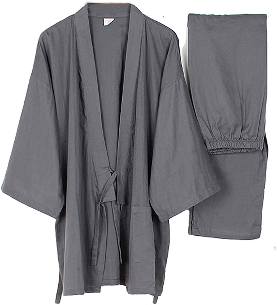 FANCY PUMPKIN Men's Japanese Style Robes Loose Pure Cotton Kimono Pajamas Suit-Gray, Large