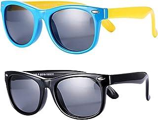 FOURCHEN Gafas de sol flexibles de goma polarizadas para niños para niñas de 3 a 10