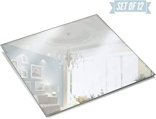 Light In The Dark Square Mirror Candle Plate Set - Box of 12 Mirror Trays - 10 inch x 10 inch with Beveled Edge - Perfect for Table Wedding Centerpieces, Party Decor, Crafts