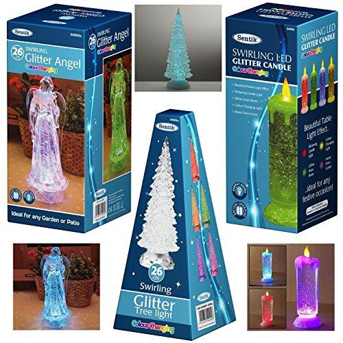 Sentik Engelslicht mit wirbelndem LED-Farbwechsel, mit Glitzerpartikeln, Weihnachten, 26 cm