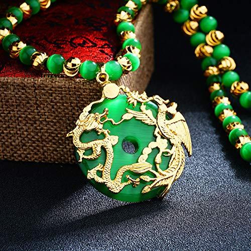 StAuoPK Unisex Drache und Phoenix Hohle Frieden Schnalle Halskette, Katzenauge Drache und Phoenix Chengxiang Anhänger (Anhänger + Kette),A