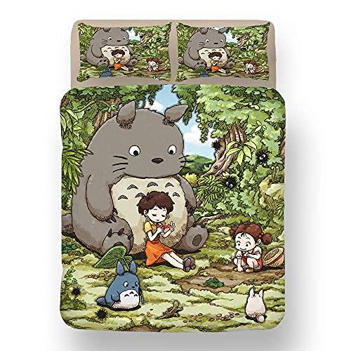Funda Nórdica Juvenil 200x200 cm, Funda de Edredón Personalizada con Dos Fundas de Almohada 50 x 75cm - Diseño de Totoro VIII-C