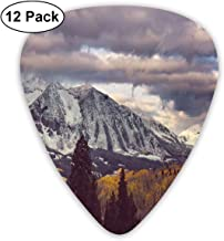 Celluloid Guitar Picks - 12 Pack,Abstract Art Colorful Designs,Snow-Capped Mountains In Colorado Autumn Season Before Rain Grey Clouds Outdoorsy,For Bass Electric & Acoustic Guitars.