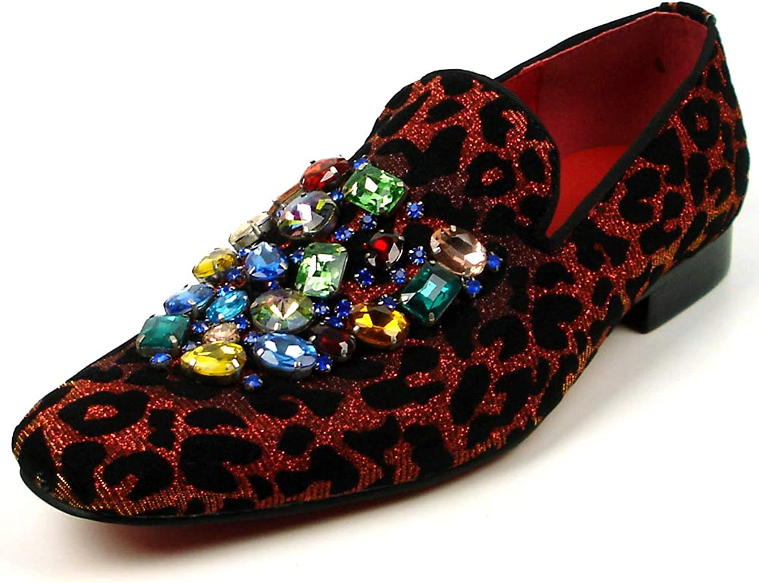 Fiesso by Aurelio Garcia FI-7422 Red Black Leopard Velvet with Multi color Crystals Slip on Loafer - European shoes Designs