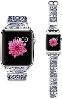 Apple Watch Strap Apple Watch Band 38MM Genuine Leather Strap Wristband With Free Adapters for Apple Watch/ Sport/ Edition 38mm-Aztec Elephants