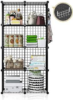 YOZO Metal Shelves Wire Storage MultiFuncation Shelving Book Organizer Cube Shelf Rack Portable Closet Wardrobe Unit, 8 Cubes, Depth 14 inches, Black