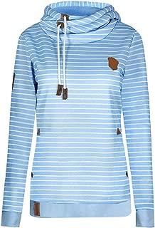 YEMOCILE Women's Long Sleeve Pinstripe Hoodie Sweatshirt Casual Cotton Pullover Tops Blouses Blouse Tops