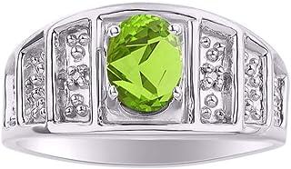 RYLOS LadiesRing with Oval Shape Gemstone & Genuine Sparkling Diamonds in Sterling Silver .925-7X5MM Aquamarine, Peridot, Alexandrite Color Stone