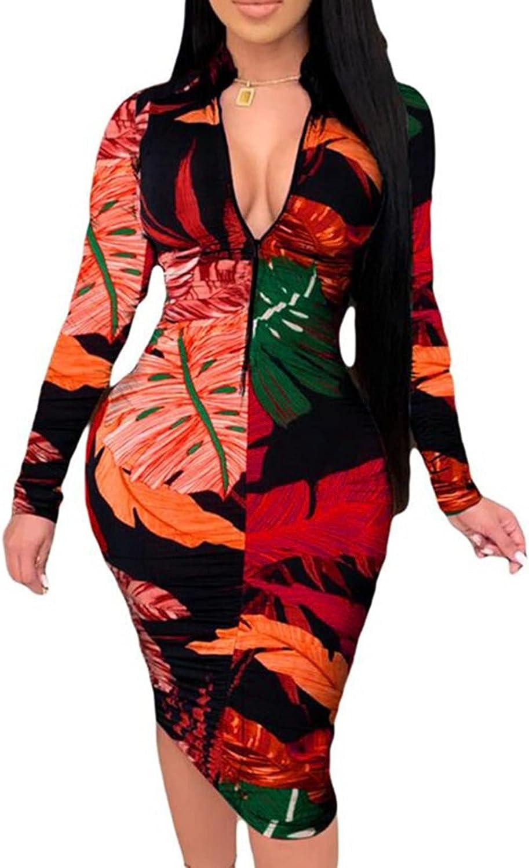 Women's Slim Zipper Dress Sexy Long V-Neck Bodycon Dress Print Long Sleeves Plus Size Dress Midi Pencil Party Dresses