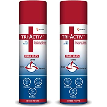 Tri-Activ 70% Alcohol Based Disinfectant Spray for Multi-Surfaces - 500 ml - Pack of 2