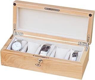 Wooden Watch Jewelry Collection Case Display Box with Lid Removable Pads Australian Cherry Wood Lockable Metal Buckle