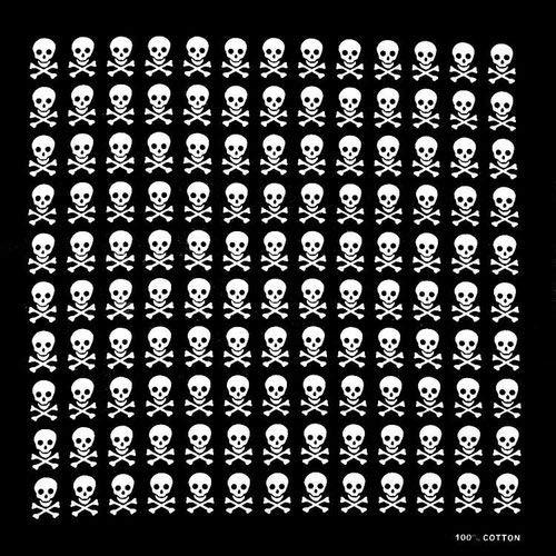 Yener Hip Hop Cotton Skull Bandana Square Sjaal Hoofddoek Zwart Fietshoofdband Bedrukt, zwart