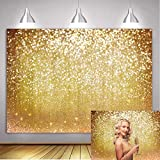BINQOO 7x5ft Gold Glitter Sparkle Photography Backdrop for Newborn Kids Women Man Birthday Girls Sweet 16th Decor Props Bridal Baby Shower Portrait Pictures Shoot Favors Studio Photoshoot