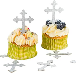Baptism Cross Cupcake Toppers silver 50pcs, Cupcake Desserts Pastries Decoration, Cross Party Supplies for Baptism, Christening, religious event, First Communion or confirmation, wedding, baby shower