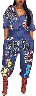 Macondoo Women Loose Half Sleeve Playsuit Wide Leg Letters Print Jumpsuit