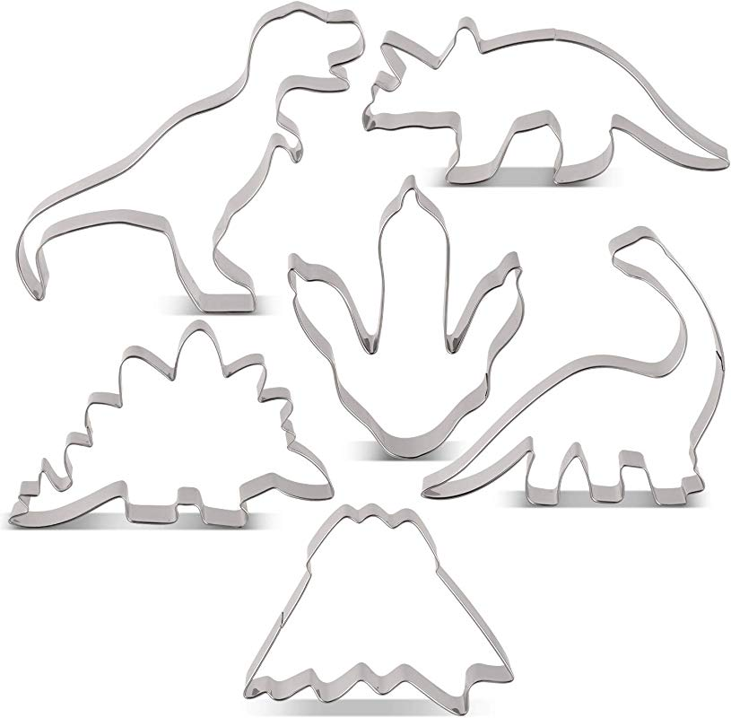 LILIAO Dinosaur Cookie Cutter Set For Kids Birthday Party 6 Piece T Rex Brontosaurus Triceratops Stegosaurus Dinosaur Foot And Volcano Biscuit And Fondant Cutters Stainless Steel