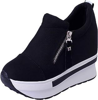 wealsex Ragazze Donna Moda Crniera Carpe di Tela Nascondere Cunei Scarpe Casual Alte Sneakers