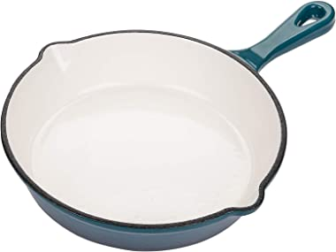 Yarlung 8 Inch Enameled Cast Iron Skillet, Nonstick Frying Pan Saucepan Round Cookware, Teal Ombre