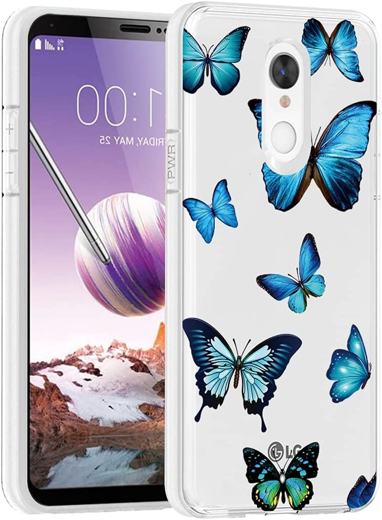 Vokuha for LG Stylo 4/for LG Stylo 4 Plus/for LG Q Stylus Case for Girls Women, Clear Slim Shockproof Pattern Soft TPU Rubber Back Phone Protective Cover Cases for LG Stylo 4 Plus (Blue Butterfly)