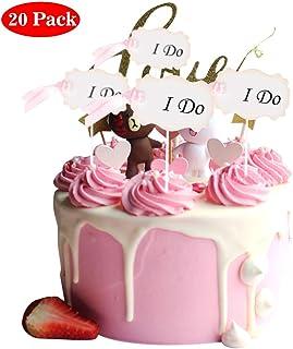 Amycute 20 Piezas Boda Party I DO Cupcakes Topper Compromiso Cake Decoracion Accesorios reposteria Helado Pastel Inserción Rosa para bizcocho Magdalenas y Torta aplastante
