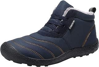 ✿HebeTop✿ Mens Winter Warm Booties, Anti-Slip Ankle Booties Waterproof Slip On Warm Fur Lined Sneaker