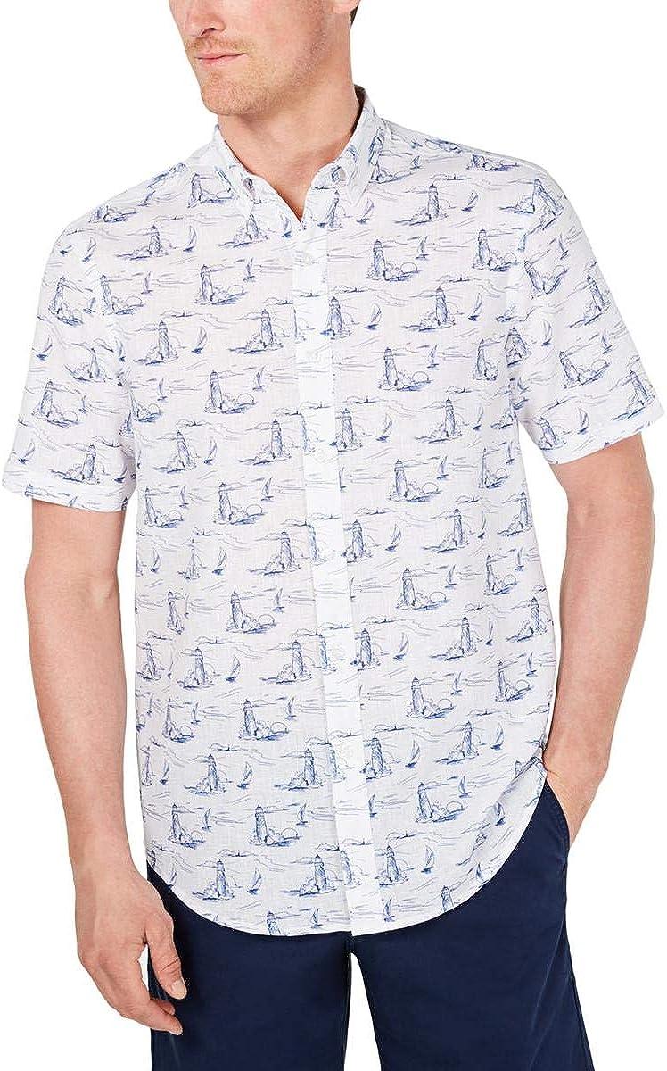 Club Room Mens Linen Blend Printed Button-Down Shirt White XXL