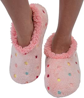 Snoozies Womens Lotsa Dots Colorful Cozy Sherpa Non Skid Slipper Socks - Pink, Large