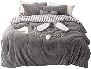 R.S. Love Life Teddy Fleece Duvet Cover Sets Soft Thick Warm Quilt Cover Fluffy Bedding Set, with Pillow Case and Sheet, King