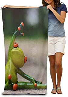 Funny Frog Do Stretching Adult Beach Towels Fast/Quick Dry Machine Washable Lightweight Absorbent Plush Multipurpose Use Quality Towels for Swim,Pool,Beach,Gym,Camping,Yoga