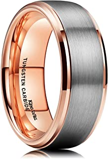 King Will Duo Unisex 5mm 6mm 7mm 8mm 18k Rose Gold Plated Tungsten Carbide Ring Two Tone Silver Wedding Band