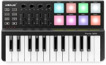 ammoon Worlde Panda mini Portable Mini 25-Key USB Keyboard and Drum Pad MIDI Controller (Type 1)