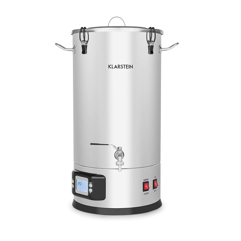 Klarstein Maischfest caldera - Olla para producir cerveza, 2 niveles: 1500/3000 W, 30 litros, Lote de 5 piezas, Cubo para filtrar, Espiral refrigerante, Pantalla LCD, Grifo, Acero 304: Amazon.es: Hogar