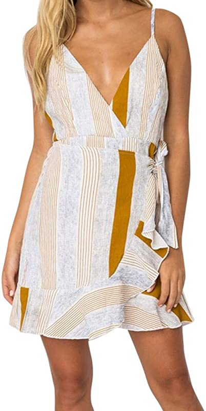 RoDeke Ladies Summer Casual Sleeveless Striped Loose V Neck Floral Print Beach Midi Dress