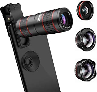 AFAITH Lente de Cámara para Teléfono 5 en 1 Lentes para Moviles Kit Teleobjetivo para Movil 12XLente Ojo de Pez de 180° 0.36X Gran Angular 2 Lente Macro 15X para iPhone/Android Smartphone