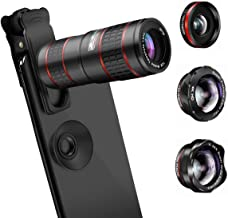 AFAITH 5 in 1 Phone Camera Lens Kit-12X Zoom Telephoto Lens + 0.36X Wide Angle+ 180° Fisheye Lens+ Dual 15X Macro Lens for iPhone X/XS/8/8P/7/6, Samsung S10/S10+/S9/S8/S6 and Other Smartphone