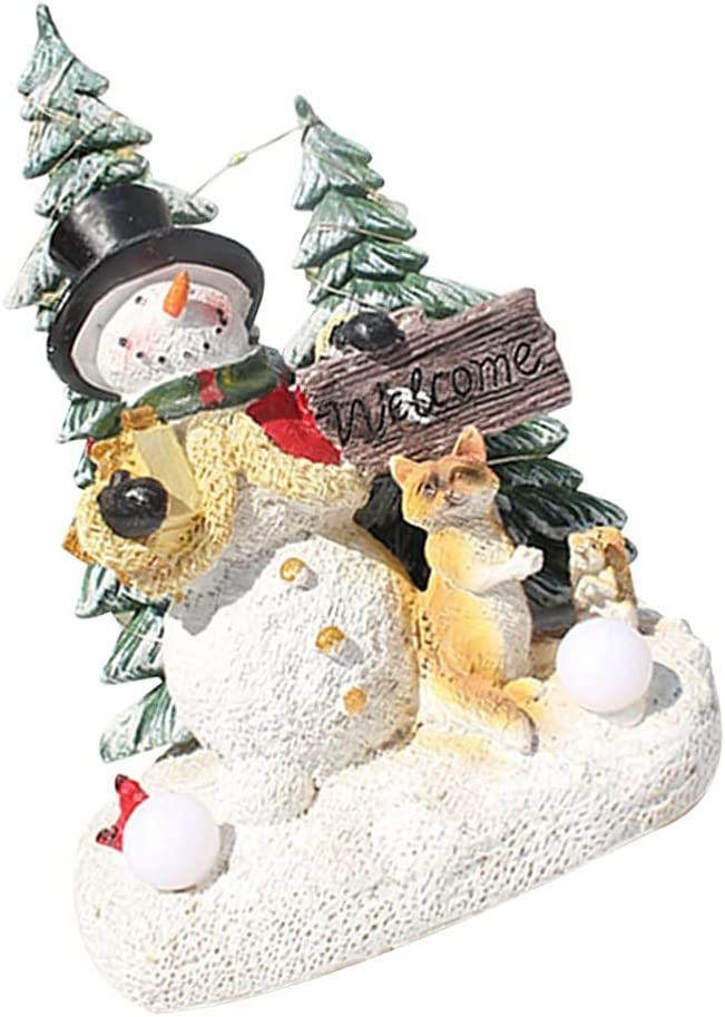 Amosfun Snowman Resin Free shipping anywhere in the nation Over item handling Figurine with Light Led Re Glowing