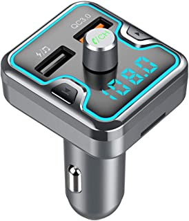 Bluetooth FM Transmitter for Car with Charger Radio Adapter Audio Receiver Cigarette Lighter Music Player for iPhone Samsu...