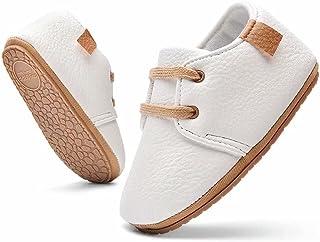 MrToNo Chaussure Rampantes Fille Bébé Cuir Semelle Souple 0-6 Mois garçon Anti-dérapant 6-12 Mois Chaussons Unisex Caoutch...