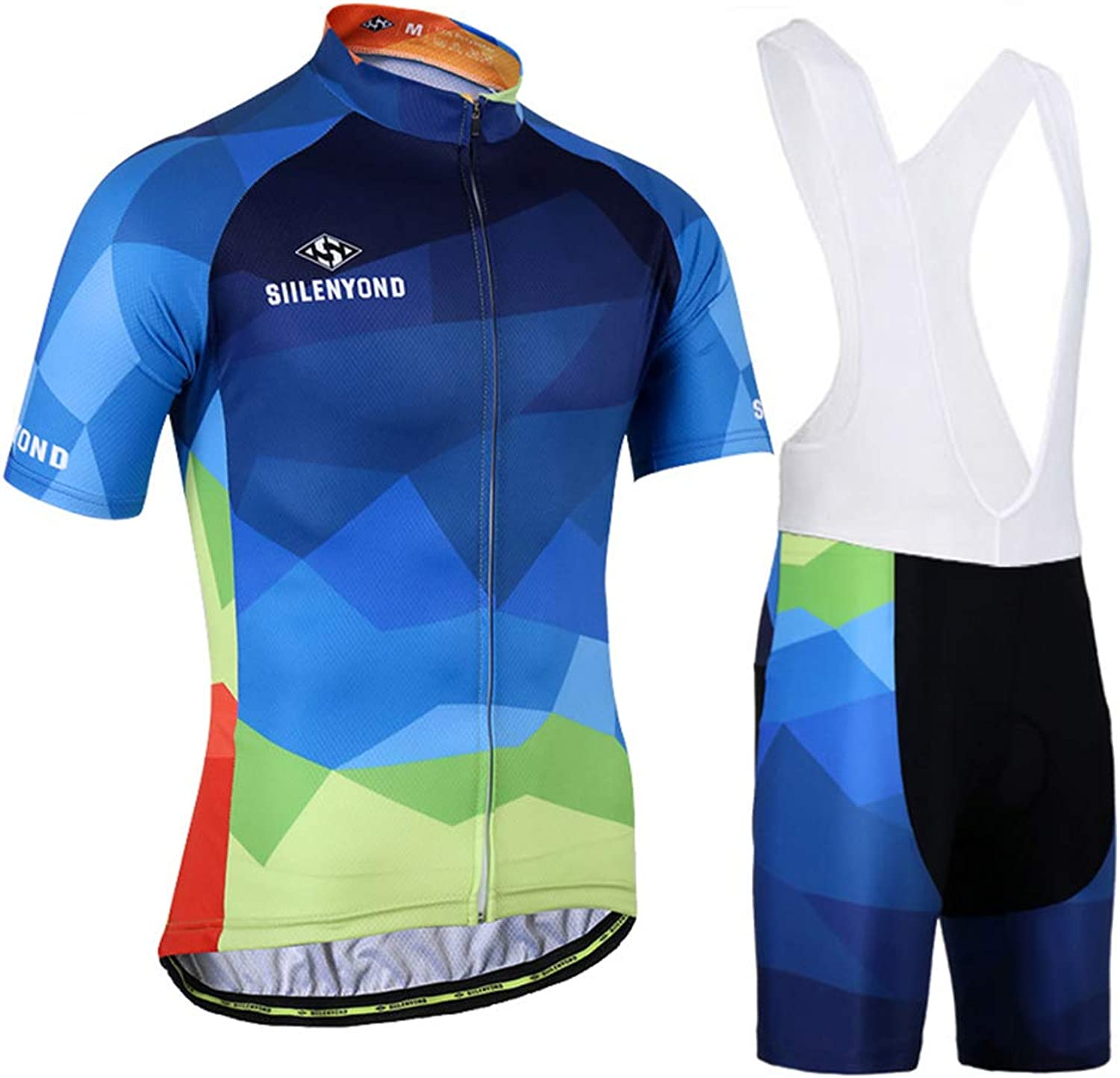 Unisex Cycling Clothing Suit for Summer Bicycle Suit Short Sleeve 3D Padded Bib Siamese Shorts,S