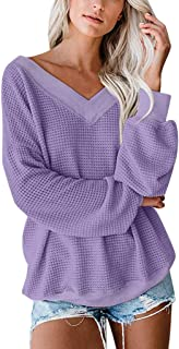 WOCACHI Womens Off Shoulder Sweater, V Neck Pullover Sweaters Solid Color Waffle Knit Long Sleeve Loose Jumper Tops